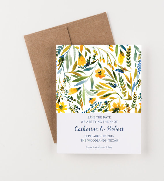 Свадьба - Wildflowers Save The Date, Blue and Yellow, Wedding Invitation, Bridal Shower or Party Invitation