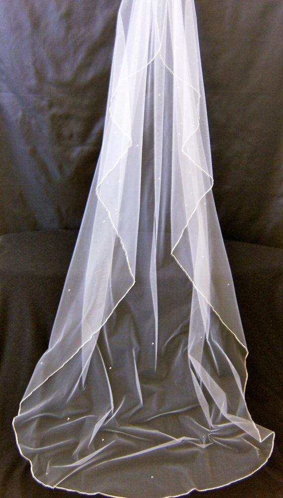 Lucinda A Swarovski Crystal Rhinestone Silk Pencil Edge 90 Inch Long Cascading Chapel Length Veil