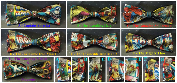 Свадьба - BowTies Made From Marvel Comics Fabric - 7 Stylish SEWN-BY-HAND Vintage Comic Bow Ties to Choose From - U.S.SHIPPlNG Never More Than 1.49