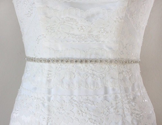 Mariage - ROSABEL - Petite Wedding Crystal Belt, Rhinestone Bridal Beaded Sash, Bridal Party Belts, Bridesmaids Gifts