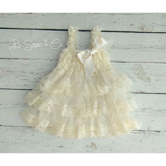 Cream Flower Girl Dress Country Rustic Flower Girlivory