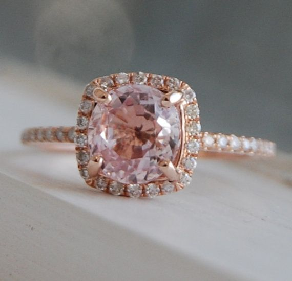On Hold 18ct Square Cushion Peach Champagne Sapphire 14k Rose Gold Diamond Engagement Ring