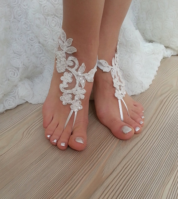 Ivory Barefoot French Lace Sandals Wedding Anklet Beach Embroidered