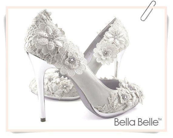 Ivory Vintage Lace Wedding Shoes With Crochet Flower Applique Satin Bridal  Pumps Silver