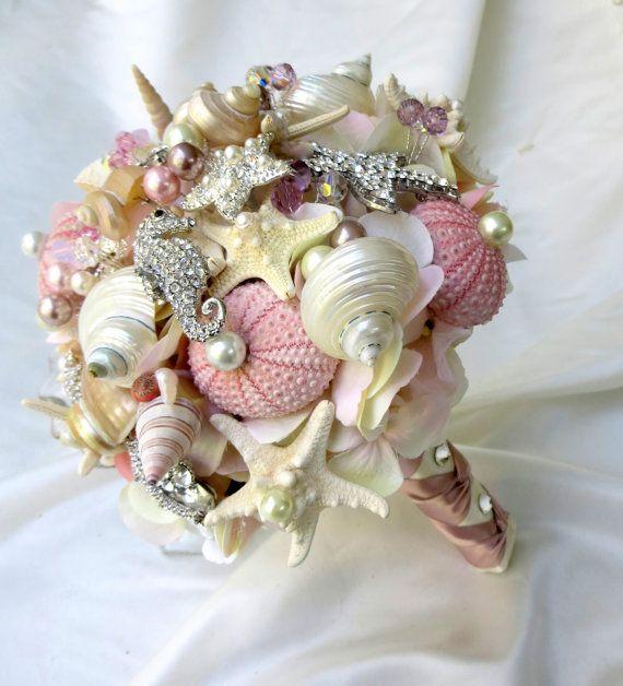Pink Sea Shell Wedding Bouquet Blush Bridal Brooch Seashell
