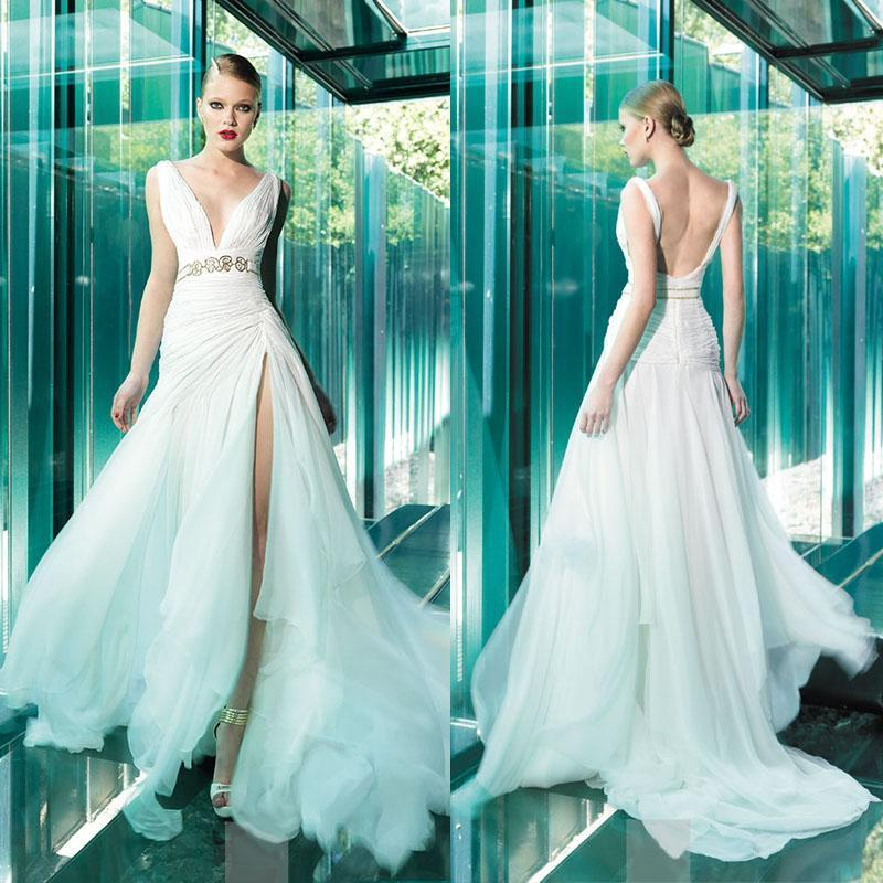 2015 Spring Chiffon V Neck Backless Sexy Wedding Dresses Gowns With Sash Split Side Sweep Train