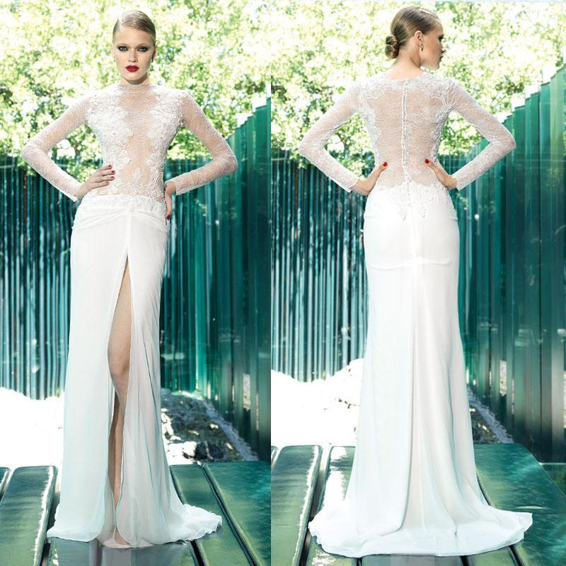 f62d84fca32dd Sexy Lace Chiffon Long Sleeve 2015 Wedding Dresses Spring Beach Crew Split  Side Sweep Train Illusion Sheer White Sheath Bridal Gowns Party Online with  ...