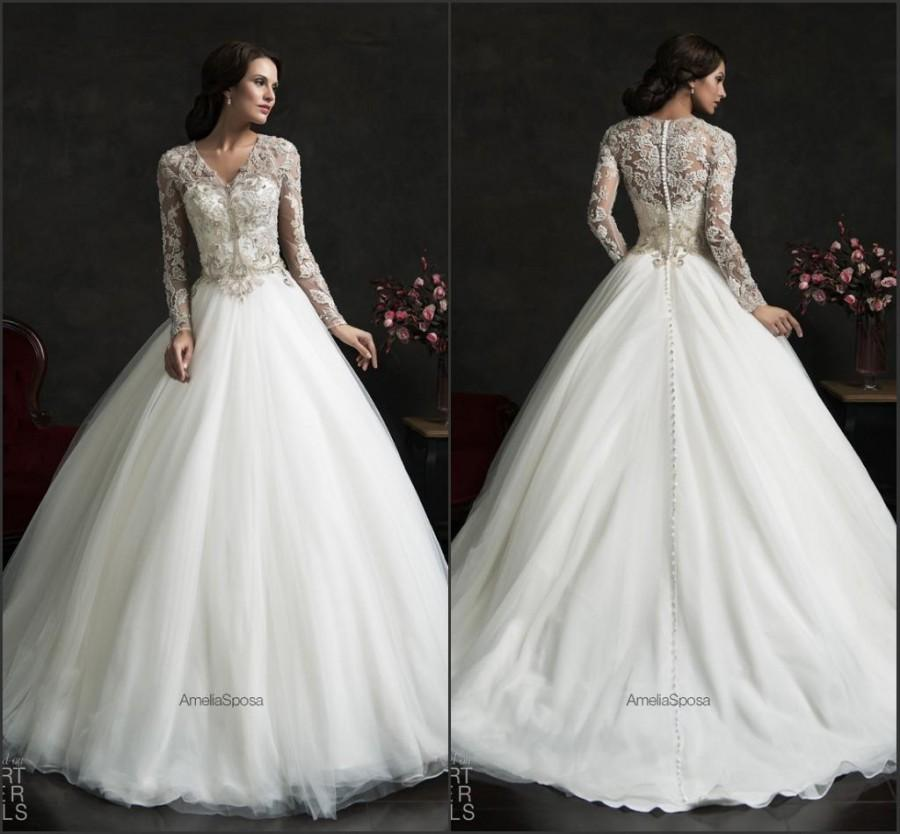 Hochzeit - Vintage Winter Fall 2015 Wedding Dresses With Long Sleeve Organza Sheer Cheap Illusion Applique Ball Gowns Chapel Train Bridal Dress Online with $129.06/Piece on Hjklp88's Store