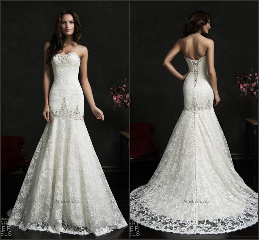 Elegant lace wedding dresses 2015 amelia sposa spring for Wedding dresses with lace up back