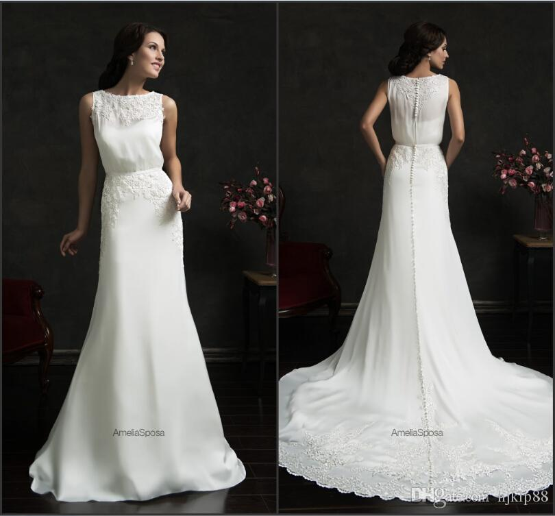 Wedding - 2015 Amelia Sposa Spring Wedding Dresses White Applique Crew Neck Chiffon A-Line Sweep Train Cheap Bridal Ball Gowns Vestido De Novia Online with $123.72/Piece on Hjklp88's Store
