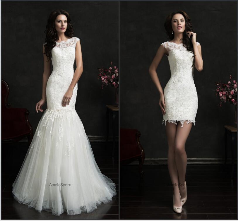 Lace sheer wedding dresses 2015 amelia sposa detachable for Removable tulle skirt wedding dress
