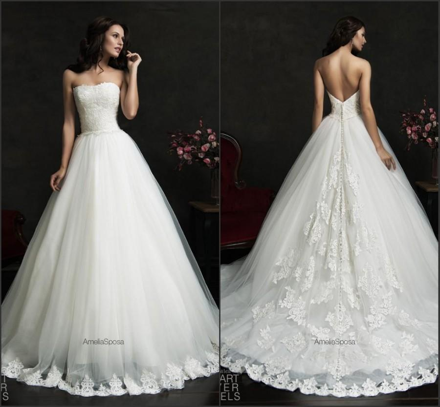Exquisite 2015 strapless amelia sposa wedding dresses lace for Where to buy cheap wedding dresses online