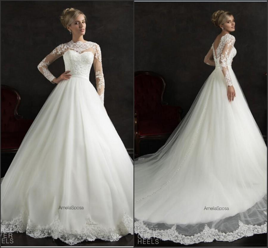 Düğün - Long Sleeve Amelia Sposa White Wedding Dresses 2015 Illusion Lace Tulle Applique A-Line Chapel Train Cheap Ball Gowns Winter Bridal Dresses Online with $132.62/Piece on Hjklp88's Store