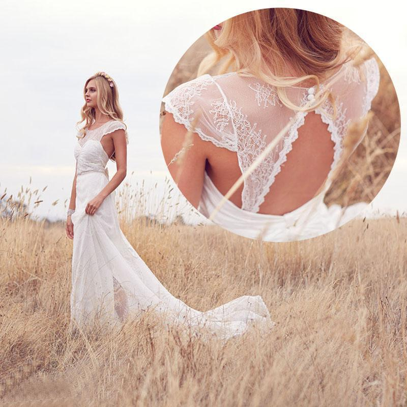 Country 2015 Spring Lace Wedding Dresses Chiffon Garden