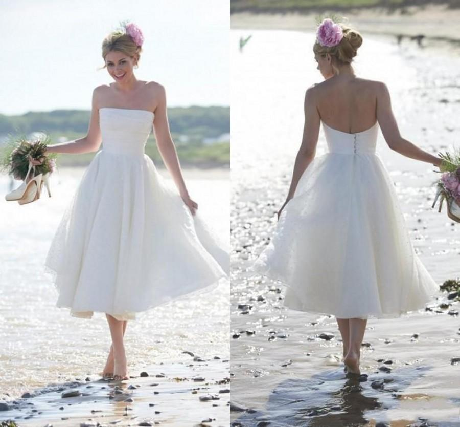 Fashion summer beach short a line wedding dresses 2015 for Wedding dresses for the beach 2015