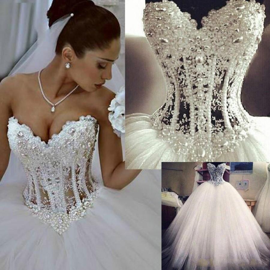 Sexy 2015 Real Image Vestidos De Noiva White Strapless Romantic - Sexy White Wedding Dress
