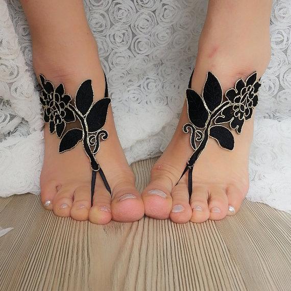 Black Gold Frame Beach Wedding Barefoot Sandals ddfb6b92de0a