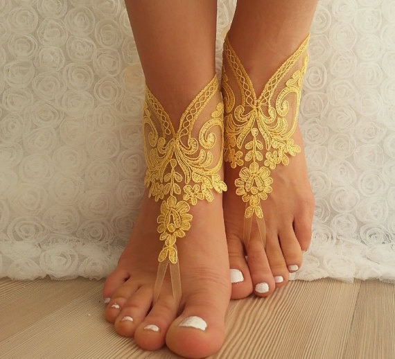 Hochzeit - bridal anklet, yellow Beach wedding barefoot sandals, bangle, wedding anklet, free ship, anklet, bridal, wedding