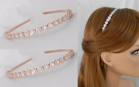Mariage - Rose Gold Bridal Headband, Simple Crystal Wedding Headband, Gold Wedding Tiara Swarovski, Pearl & Rhinestone Headband, Halo Crystal Headband