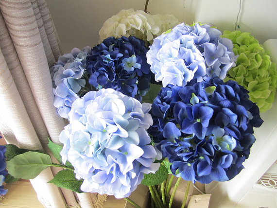 10 Pcs Silk Hydrangea Flower With Stem 8 Colors Wedding Table Centerpieces Home Decor Artificial Bouquet