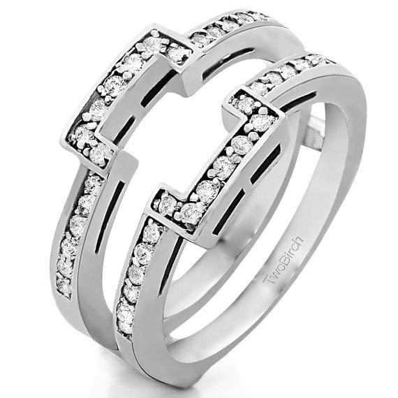 Square Halo Engagement Ring Guard 10 Karat Gold Ring Guard