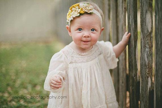 Свадьба - Mustards and Cream Wool Felt and Lace Flower Garland Headband-  Wool Felt Flower Headband- Shabby Chic Wedding Flower Girl Headband