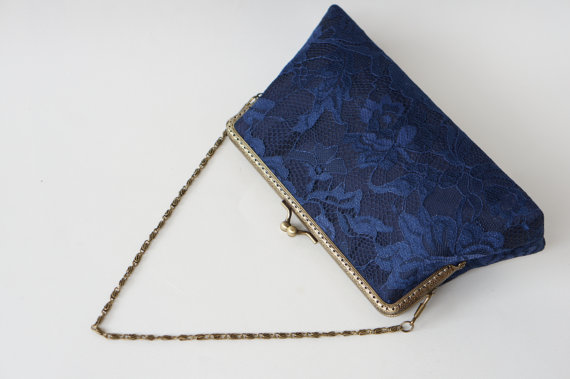 Mariage - Nautical Wedding, Navy Blue floral lace silk clutch Clutch, Bride Clutch, Wedding Favor, Bridal Accessory, Vintage Wedding , Evening handbag