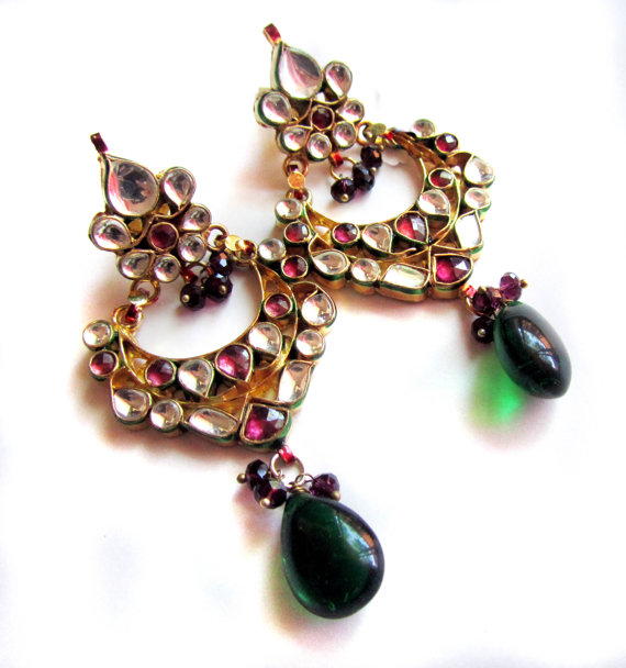 Свадьба - Kundan Earrings, 22K Gold plated, Rhodolite, Green & Gold earrings,wedding jewellery by Taneesi