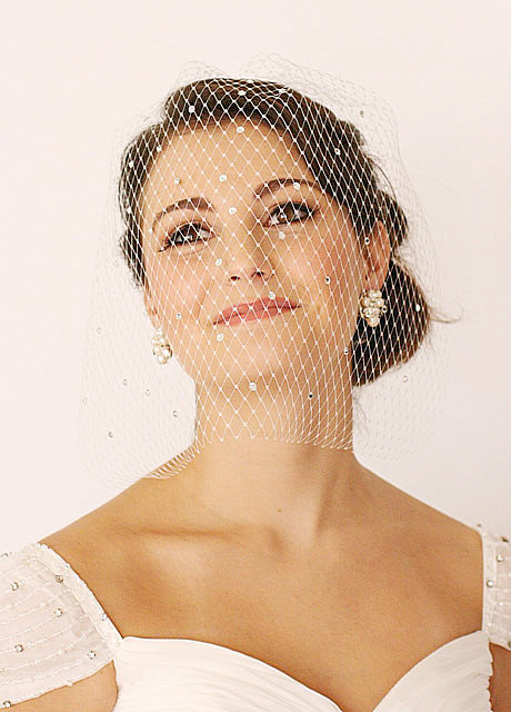 Свадьба - Swarovski Crystals Embellished Veils, Bridal Veil, Mini Veil, Birdcage Veils, - GEORGINA