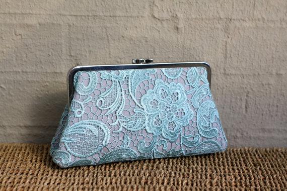 Свадьба - Mint Lace Clutch / Wedding Gift / Bridal Clutch / Bridesmaid Purse Clutch - 8 inches Christine Style Clutch