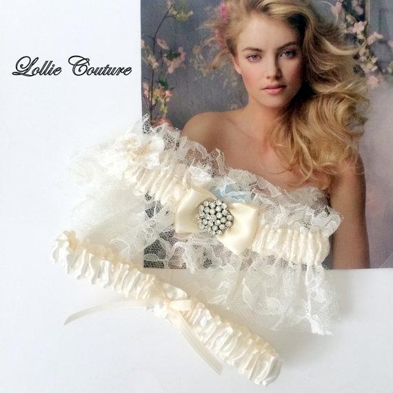 زفاف - Lace Wedding Garters  Lingerie Romantic bride to be simple modern Silver Ivory Lace bridal Garters