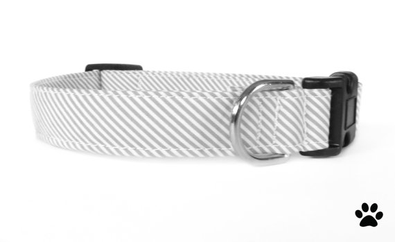 Свадьба - Grey and white striped - pet collar, dog collar, cat collar