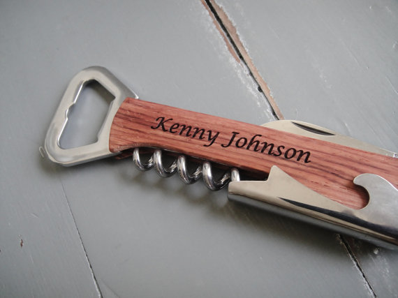 Hochzeit - Personalized Bottle Opener, Engraved Corkscrew, Engraved Bottle Opener, Custom Opener: Groomsmen, Bridesmaid, Stocking Stuffer, Fathers Day