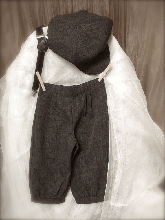 زفاف - vintage charcoal grey BOYS KNICKER PANTS- little boy knickers, ring bearer pants, boys photo prop (sizes available 1-6 year old)