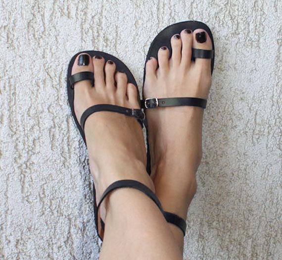 زفاف - Toe Ring Ankle Strap Barefoot Sandals With Silver Buckles - Breeze