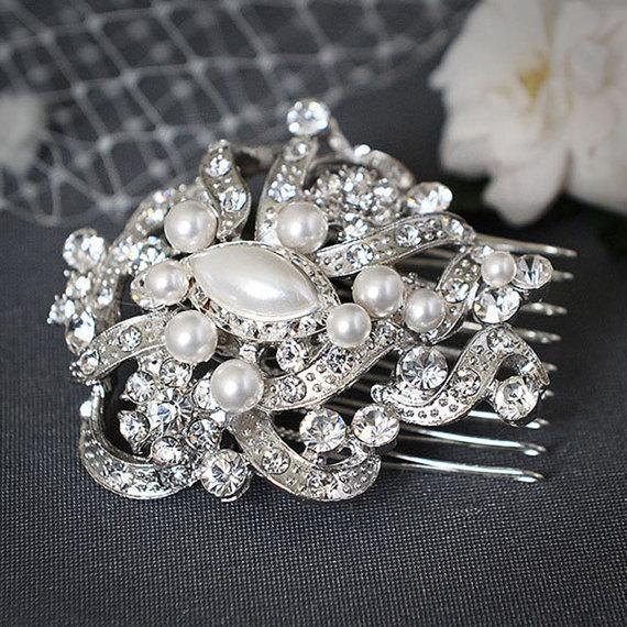 زفاف - Bridal Hair Accessories, Wedding Hair Comb, Swarovski Pearl Hairpiece, Art Deco Hair Comb, Vintage Style Bridal Hair Jewelry, EATHELYN