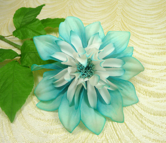 Vintage silk millinery dahlia flower nos germany turquoise blue aqua vintage silk millinery dahlia flower nos germany turquoise blue aqua white large blossom for hats wedding bouquet hair clips crafts mightylinksfo