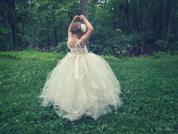 Hochzeit - PRE-ORDER Rose Champagne Tulle Flower Girl Dress