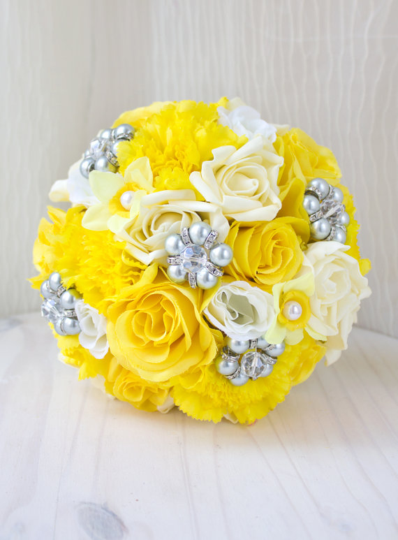 Yellow And Grey Bouquet, Bridal Brooch Bouquet, Jewelry ...