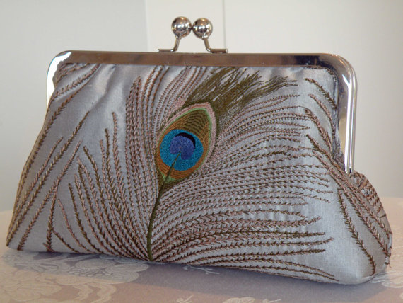 زفاف - Peacock Feathers Silk Clutch/Purse..Bridal/Wedding/Gift..Silver...Breezy Navy lining..Seafoam and Gold..Embroidered Free Monogram