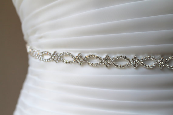 Mariage - Bridal delicate infinity crystal sash.  Rhinestone jewel bridesmaid slim wedding belt.  ENCHANTED