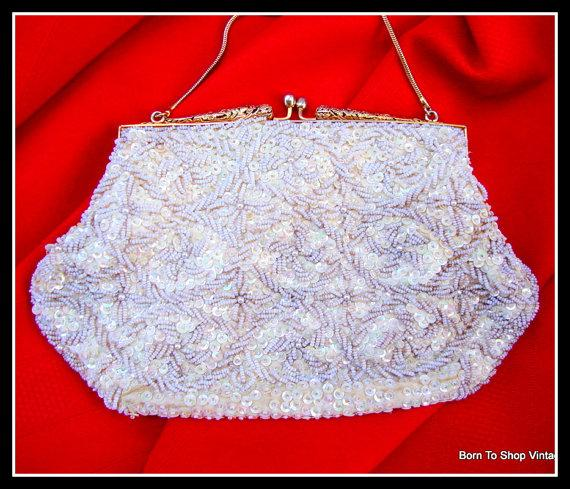 Mariage - White bridal clutch, purse, beaded, handbag, vintage 1970s,  gold filigree, pearls, sequins, hand made, Hong Kong, wedding, evening bag,