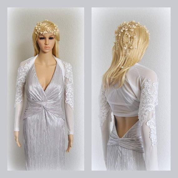 White lace long sleeve wedding bolero cover up bridal for Long sleeve wedding dress topper