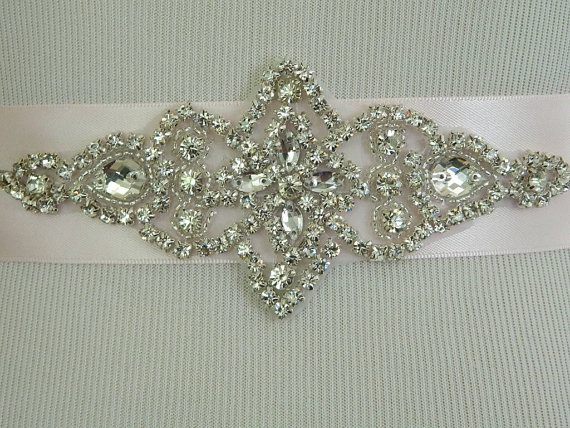 Wedding - Wedding Sash/Belt,Bridal Sash,Rhinestone Sash,Beaded Sash,- Shannon-Light Pink Wedding Sash