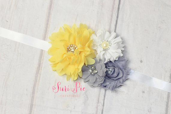 Mariage - Yellow Gray Sash..Bridal Sash..Maternity Sash.Romper Sash.Flower Girl Dress Sash..Baby Girl Easter Clothing.1st Birthday. Photo Prop