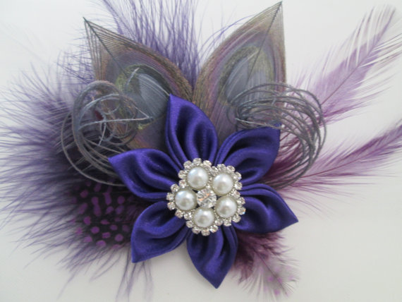 Mariage - Purple Wedding Hair Clip, Silver Peacock Hair Fascinator, Purple & Gray Feather Wedding Hair Piece, Bridal Accessory, Birdcage Veil