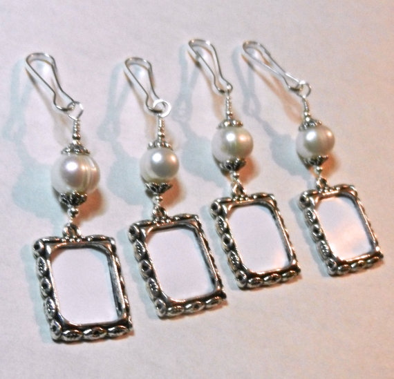 Mariage - Wedding memory charms. Bridal bouquet photo charms, Freshwater pearl set of 4.