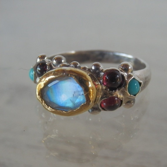 Wedding - Engagement Ring, Moonstone Caterina Ring, Gold and Silver Ring, Wedding Ring, Gemstone Ring, Stacking Ring,  Rainbow Moonstone Ring