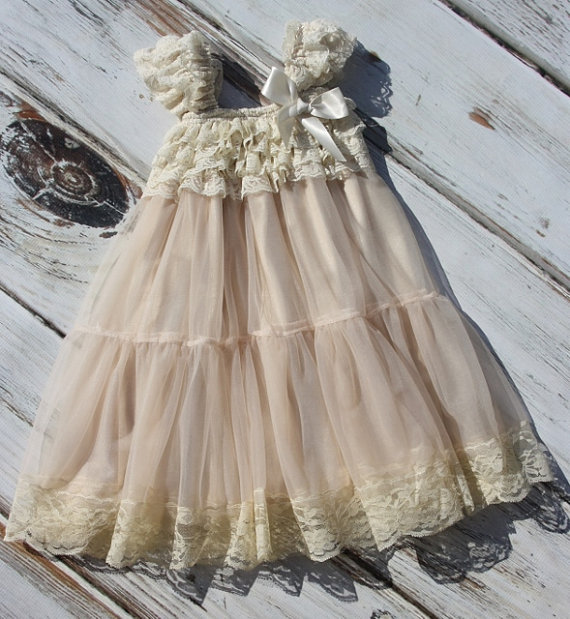 Hochzeit - Champagne Chiffon Girls Dress- Flower Girl Dresses- Cream dress- Lace dress- Rustic Girls Dress- Baby Lace Dress- Junior Bridesmaid