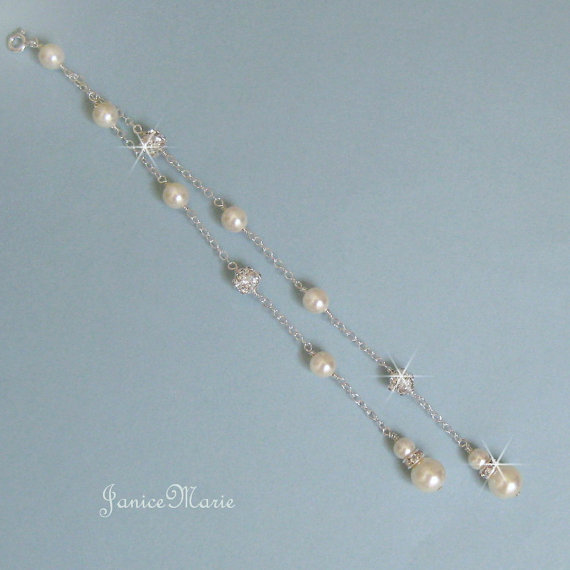 Mariage - Double Strand Backdrop - Pearl Back Drop to Add to Your Necklace - Pearl and Fireball Backdrop -  Bridal Necklace Backdrop - Wedding Jewelry